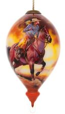 Cowgirl Horse Western Hand Painted Interior Glass Ornament Gift Box New