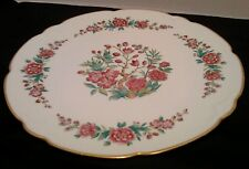 Limoges 12 1/4 Inch Serving plate. France. Flowers and Gold Trim. Scalloped edge