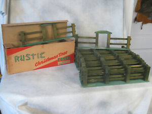 Rustic Christmas Fence Wood 24pc Green & Brown part Boxed Valley Novelty Co