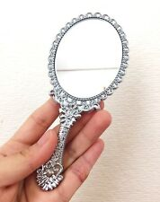 Vanity Portable Mini Mirror Silver Princess Mirror, Handheld Pouch Size Mirror