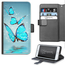 Hairyworm Three Blue Butterflies Deluxe PU Leather Wallet Phone Case, Flip Case