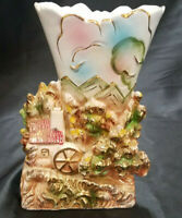 VINTAGE PORCELAIN PLANTER/VASE WITH HOUSE AND WATER WHEEL