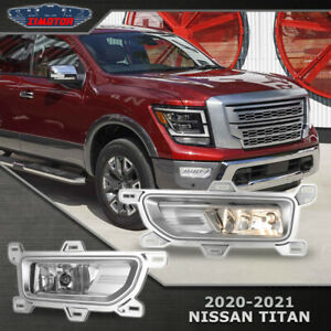Fit 2020+ Nissan Titan PAIR Fog light Bumper Lamps+Wiring+Switch L+R Clear Lens