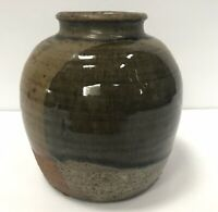 Vtg Studio Pottery Vase Partial Glaze Signed by Artist green brown stoneware 5""