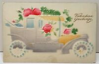 Valentine Greeting Embossed Airbrushed Car Tilden Nebraska Postcard E2
