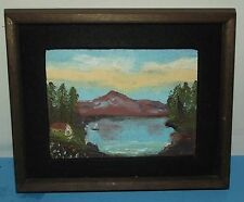 """Wood Framed Picture of Mountain Lake Cabin Trees about 9""""x10"""" Wall Hanging Art"""