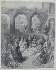 Doré - London; 'Holland House - A Garden Party', Antique Wood Engraving, C.1870