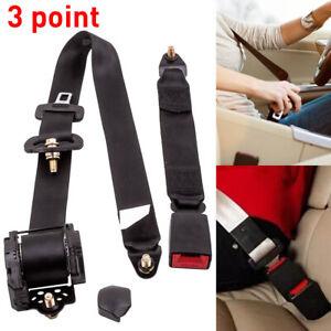 1 * Black Universal Retractable Seat Belt 3 Point Auto Car Lap Adjustable Belt