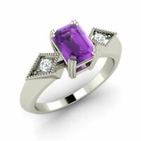 925 Sterling Silver Natural Emerald-cut Amethyst & Diamond Ring - Free Shipping