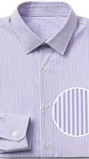 Gap Men's Shirt Size S Slim Fit Lilac Purple Awning Strip Cotton Long Sleeves