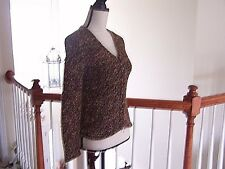 Talbot's Petite Women's P Knit Sweater Zipper Front Long Sleeve Multi Color