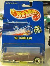 Hot Wheels 59 Cadillac #266 All Blue Card Purple