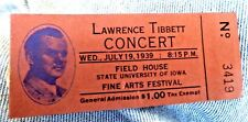 VINTAGE TICKET STUB OPERA SINGER LAWRENCE TIBBETT UNIVERSITY OF IOWA 1939