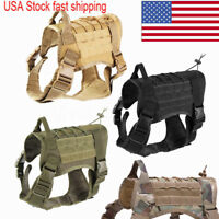 Military Tactical Training K9 Dog Harness Nylon Vest for Police Dogs Large M/L