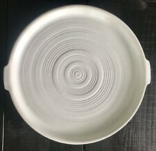 Pacific Pottery Hostessware White Ringed #413 Tab Handle Tray Platter