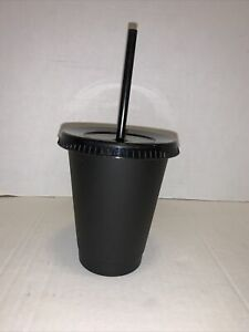 5 Pack Reusable 16oz Plastic Black Matte Cup with Straw and Lid