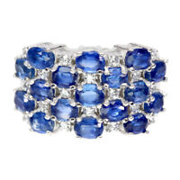 Unheated Oval Blue Kyanite 4x3mm Cz White Gold Plate 925 Sterling Silver Ring