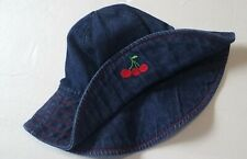 EUC Gymboree Girl Vintage 2001 Cherries Baby Blue Denim Wide Brim HAT Cherry 3-6