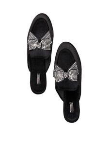 Victoria's Secret NWT $39.50 Rhinestone Bow Silde Size M (7-8) Black