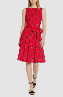 $210 Anne Klein Women's Red Floral Boat-Neck Fit & Flare Cocktail Dress Size 0
