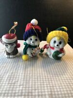 Vintage Christmas Bell Ornaments Lot of Three   2 Giftco snowmen and Jasco Cat