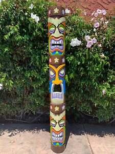 "Tiki Totem 3 face Tribal Wood Colorful Wall Mask Patio Tropical Bar Decor 60"""