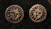"""Vtg.Anne Klein Dark Gold Tone Lion Logo Dangle Earrings Pierced 3/4"""" Diameter"""