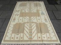 Old Traditional Turkish Oriental Hand Made Beige Gold Wool Large Kilim 244x162cm