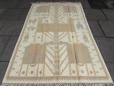 Old tradizionale turco orientale fatto a mano beige Lana D'ORO 244x162cm GRANDE Kilim
