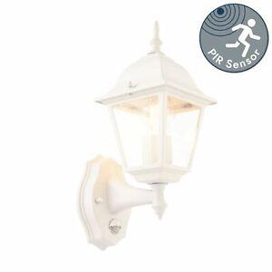 White Outdoor Security Wall Light Garden Lantern with PIR Motion Sensor