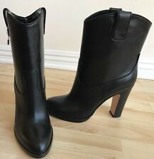 New Beautiful GIANVITO ROSSI Black Leather Heel Boots size 40 NIB