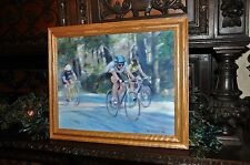 super lovely Original Painting of   Bicycle riders Listed Artist