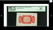 $189 Sale Fr1291 Specimen 25¢ Third Issue Wide Margin Red Back Pcgs Apparent 63
