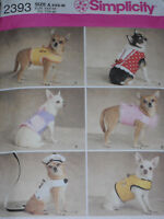 Tiny Dog Clothes XXSmall-Medium Simplicity 2393 Sewing Pattern