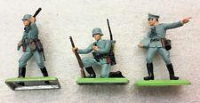 3 NEW Vintage BRITAINS DEETAIL German Infantryman  on Metal Base #7380a