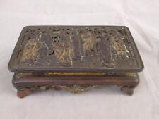 Lovely Vintage Ink Well Metal Box Oriental Design Milk Glass Wells