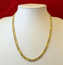 BEAUTIFUL 18CT SOLID GOLD 20 INCH FANCY 2 COLOUR CURB NECKLACE CHAIN