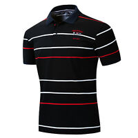 Fashion Men Flag Polo Shirt Short Sleeve Embroidered Striped Cotton T Shirt Top