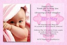 50 Personalised Girls Pink Christening Day ~ Naming Day ~Baptism Day Invitations