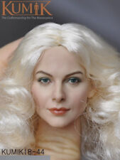 1/6 KUMIK KM18-44 Female Head Caving W White Curls  Hair Fit 12'' Action Figure