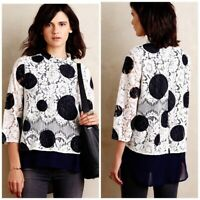 Anthropologie HD in Paris Size 6 Top Polka Dot  Lace 3/4 Sleeve White Navy NWT