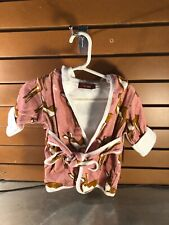 Milkbarn Pink Cotton Baby Hooded Robe- Fawn Design- Size: 0-9 Months- Nwt