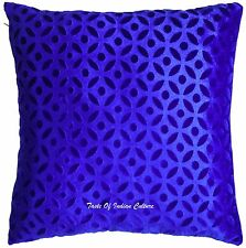 "Royal Blue 16""x16"" Cushion Pillow Cover Velvet Sofa Throw Indian Home Decorative"