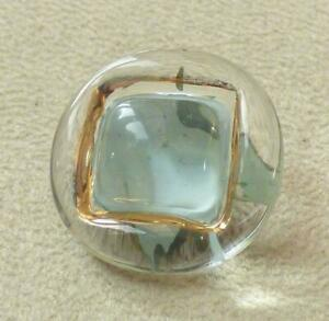 """BIMINI-STYLE GLASS BUTTON - """"Square"""" Pale Blue/Turquoise Background - 22mm"""