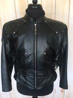 HARLEY DAVIDSON Womens Medium Black Leather Motorcycle Jacket Fringes