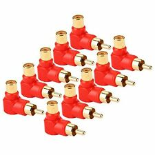 10 x Gold RCA Male Plug to RCA Female Jack Right Angle AV Audio Adapter Red