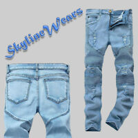 Men's Ripped Skinny Fashion Biker Destroyed Slim Fit Denim Jeans Pants