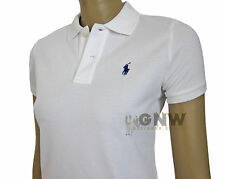 Ralph Lauren Women SKINNY Polo T-shirt Short Sleeve With Tags XS White Without Label