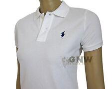 Ralph Lauren Polo Shirt Ladies SKINNY Fit Short Sleeve White L