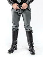 Men's Real Leather Pants Bikers Pants With / Without Back Zip BLUF Pants